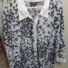 BLOUSE LADIES/TOP/JACKET/SHEER/AVENUE/BLACK-WHITE-SHEER/STRETCHY/20-24/WOMEN