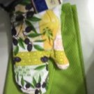 KITCHEN BAR 2 BOLD GREEN TOWELS 1 OVEN MITT OLIVES PRINT GREEN & MULTI NEW TOWEL
