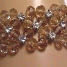 "BRACELET AMBER CRYSTALS HIGHLY FACETED WITH LARGE FAUX STONES SMALL 7"" ELASTIC"