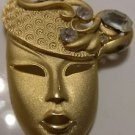 PIN BROOCH PENDANT WOMAN'S HEAD WITH HAT GOLD TONE WITH CLEAR STONES ESTATE PC.
