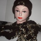 SCARF HAT  Set - DARK BROWN + ANIMAL PRINT HAND MADE CROCHET TATTERS N' RAGS SET