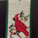 CHRISTMAS WALL DECOR CARDINAL +  POINTSETTIA  + HOLLY HAND SEWN WHITE GREEN RED