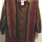 "ANIMAL PRINT SHIRT BLOUSE ""HOT STUFF"" VINTAGE UNWORN LARGE BUTTON DOWN SHIRT USA"
