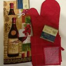 KITCHEN BAR BUNDLE (2) TOWELS (2) SCRUBBIE  (1) OVEN MITT NEW REDS/MULTI