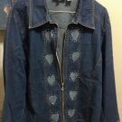 JACKET DENIM JEAN WITH CLEAR STONES AND HEARTS PLUS 2X VINTAGE JACKET
