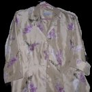 Blouse DRESSBARN  ORIENTAL STYLE BEIGE FLORAL BLOSSOMS  SHINY 16