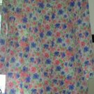 Blouse LADIES PLUS TOG SHOP FLORAL PEACH PERIWINKLE GREEN ON WHITE 18W