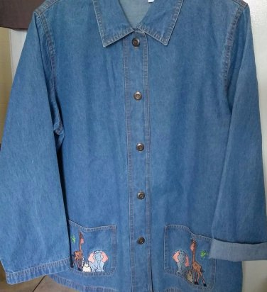 JEAN JACKET DENIM SHIRT JACKET WITH LARGE EMBELLISHED POCKETS ARTIST STYLE LARGE
