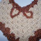 PONCHO BABY MEDIUM. COWL PONCHO WITH PICO EDGING BEIGE+AMBER TRIM NEW HAND MADE
