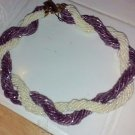 CHOKER NECKLACE ENCORE VINTAGE UNWORN BEADS LAVENDER & OFF WHITE VINTAGE 8""
