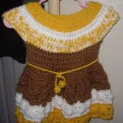 CHILD TODDLER HANDMADE CROCHET DRESS WHITE YELLOW BROWN SHELL STITCHING OOAK