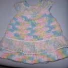 NEWBORN INFANT PREEMIE DOLL HANDMADE CROCHET DRESS OOAK VARIEGATED PASTELS+LACE