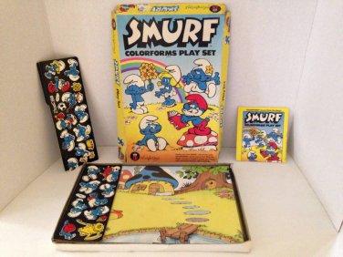 Vtg 1981 Colorforms SMURF Play Set Complete Smurfy Game Peyo