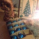 "1930s/40s Eckardt Shiny Brite Blue Mercury Glass Ornaments w/Box 11 1.5"" Bulbs"