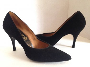 vtg 50s Black Suede Pinup Heels Pumps Life Stride 8N Rockabilly Classic Stiletto