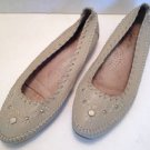Vtg 80s 90s Moccasin Style Beige Leather Flats Shoes Slip Ons 8 Embellished