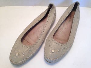 Vtg 80s 90s Moccasin Style Beige Leather Flats Shoes Slip Ons 8 Embellished