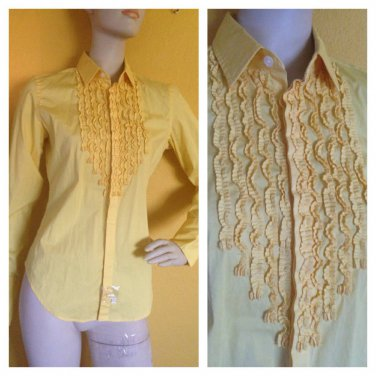 NWT Ralph Lauren Sport Ruffled Blouse Button Down Shirt Top Yellow 6