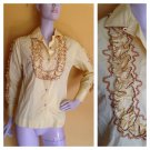 Vtg 60s H Bar C Ruffled Western Blouse Top Pearl Snap Shirt Rodeo S rockabilly