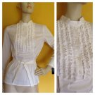 NWT Alfani Tuxedo Ruffled Front Band Collar Crisp White Blouse Button Shirt 4