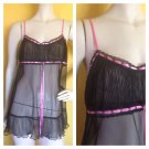 NWT Victoria's Secret Very Sheer Accordion Pleat Babydoll Gown Chemise M Nightie