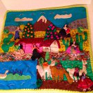 Vtg Peruvian Handicraft Textile Farming Village Embellished Quilt Wall Hanging