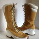 Timberland Tall Lace Up Winter Boots Wheat/White Suede Rubber Euro Dub Spin 7 EC
