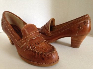 vtg 70s Stacked Heels Loafers Tan Woven Leather Moccasins 7.5 LN HIppie Boho