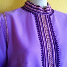 vtg 70s Lavender Maxi Hostess Dress Ethnic Tribal S/M Party Evening Hippie Boho