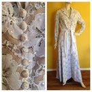 Vtg 70s Illusion Lace Maxi Hostess Dress Wedding Gown Beads/Sequins S/M Couture