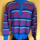vtg 80s/90s Obermeyer Half Zip Mens Ski Lodge Resort Rival Sweater M Blue Red