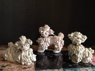 50s Set/3 Mid Century Ceramic Spaghetti Poodles Pink & White Signed F