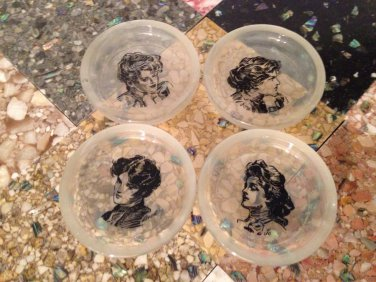 vtg Set/4 Louisa May Alcott Little Women Ashtrays Coasters Frosted Glass