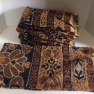 vtg Retro TasteMaker 9pc Bath & Hand Towel Set Brown Black Tribal Batik Floral