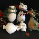 Set/4 Cute Tails Flocked Cat Kissing Kitty Christmas Ornaments Mistletoe Santa