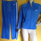 IZOD Blue White Breathable Jogging Track Workout Set Suit Pants Jacket M/L Sweat