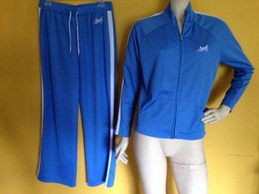 IZOD Blue White Breathable Jogging Track Workout Set Suit Pants Jacket M/L Sweat