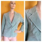 Wilsons Leather Maxima Mint Green Suede Jacket Gathered Pleats EC Blazer