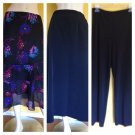 Lot/3 M Long Midi Skirts Ruffled Silk Express Travelers Pants Floral Black