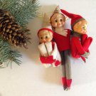 Rare vtg Hugging Set/3 Knee Hugger Elves Elf on the Shelf Boys Striped Hat Felt