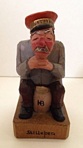 Vtg Georg Heisswolf Wood Hand Carved Quiet Life Service Man Rothenburg Germany