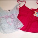 Set/2 Cami Camisoles Light Blue Lace Neccessary Objects Magenta M