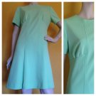 vtg 60s/70s Gogo Mod Retro Mint Green Polyester knit Scooter Dress M/L