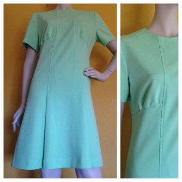 vtg 60s/70s Gogo Mod Retro Mint Green Polyester knit Scooter Dress M/L