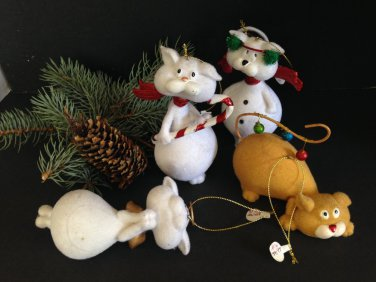 Set/4 Cute Tails Flocked Cat Kitty Christmas Ornaments Angel Heavy Large White