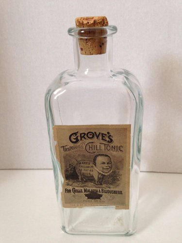 """Vtg Grove's Tasteless Chill Tonic Bottle TCW&Co Authentic Reproduction 10"""" Tall"""