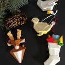 Set/4 Ceramic ORIGAMI Christmas Ornaments Reindeer Stocking Duck Chick