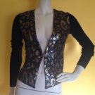 Cache Sequined Leopard Animal Print Soft Cardigan Sweater Knit LW Top Black Gold