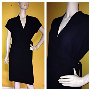 Gorgeous Amanda Smith Faux Black Wrap Dress Career 12p 12 Petite EC