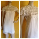 SABO Skirt White Lace Peek-a-Boo Low Cut Mini Dress Bridal Beach Sheer NWT 6